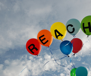 balloons, reach, and sky image