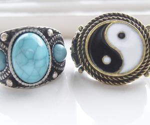 rings, yin yang, and boho image