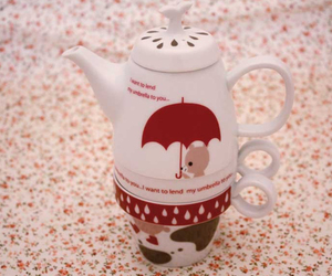 adorable, cup, and umbrella image