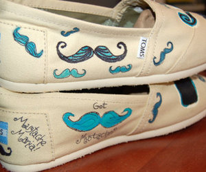 shoes, toms, and mustache image