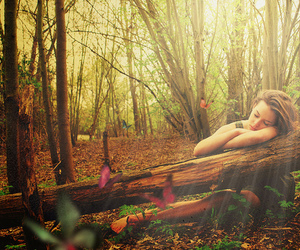girl, butterfly, and nature image