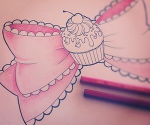 cute, bow, and cupcake image
