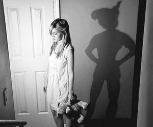 black and white, disney, and peter pan image