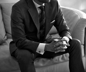 man, suit, and black image