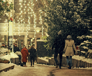 couple, snow, and street image