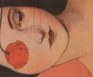 art, woman, and flower image