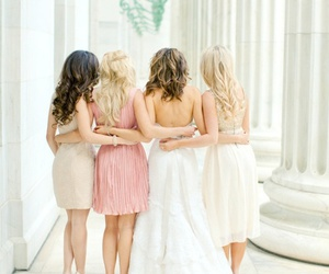 girl, wedding, and friends image