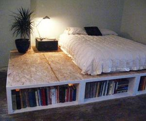 bed, book, and bedroom image