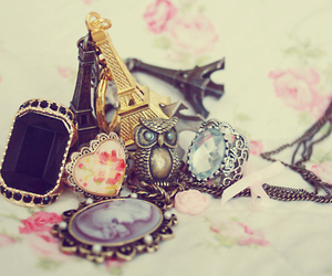 paris, owl, and necklace image