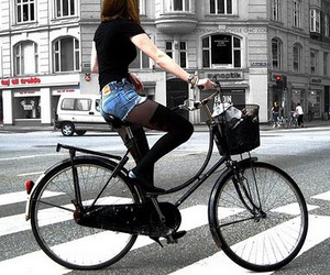 girl, bike, and bicycle image