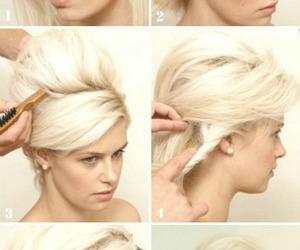 blonde, tutorial, and updo image