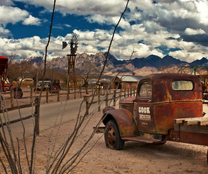 landscape, truck, and mountains image
