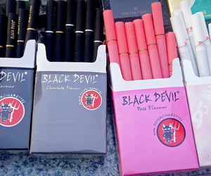 cigarette, pink, and black devil image