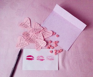 heart, kiss, and Letter image