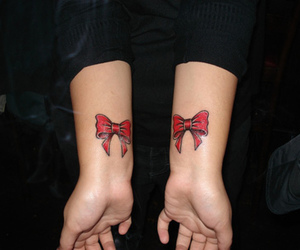 tattoo, bow, and red image