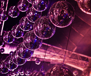 party, disco balls, and pink image