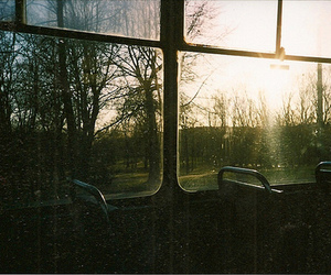 bus, sunset, and window image
