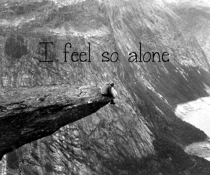 alone, black and white, and depressing image