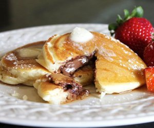 pancakes, food, and nutella image
