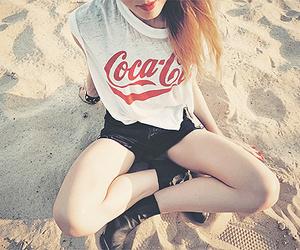girl, beach, and coca cola image