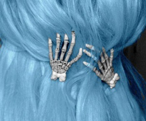 hair, skeleton, and blue image