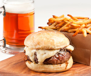 beer, burger, and food porn image