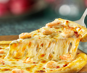 cheese, pizza, and shrimp image