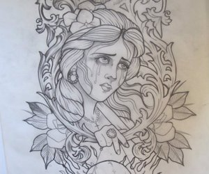 drawing, tattoo sketch, and illustration image