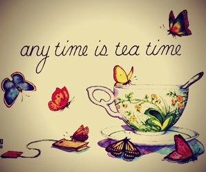 tea, butterfly, and time image
