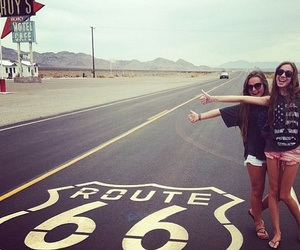 girl, friends, and route 66 image
