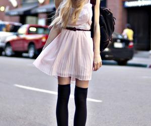 converse, girly, and knee high socks image