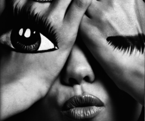 eyes, black and white, and lips image