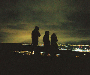 night, city, and friends image