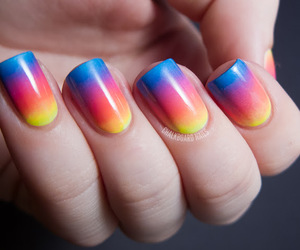 colorful, nails, and red image
