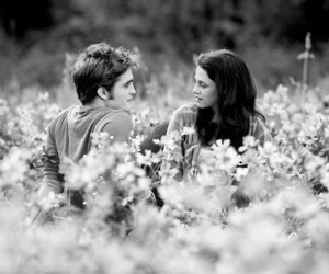 b&w, cute couple, and flowers image