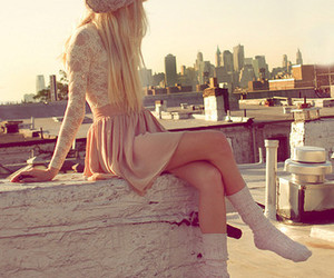 blond, city, and fashion image