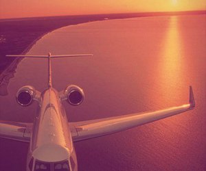 plane, sunset, and travel image