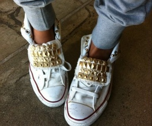 all star, gold, and chucks image