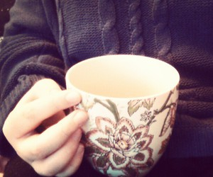 blue, cup of tea, and girl image