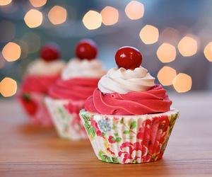 cupcake, food, and cherry image
