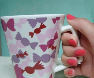 coffee, nails, and pink image