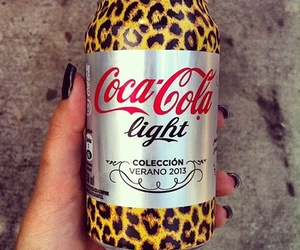 coca cola, drink, and leopard image
