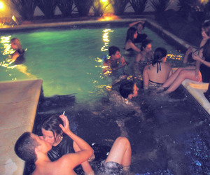 couple, kiss, and pool party image