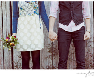 love, couple, and flower image