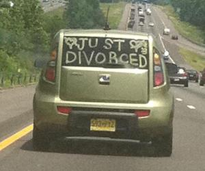 funny, car, and divorced image