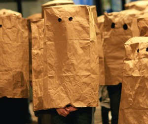 eyes, funny, and paper bags image