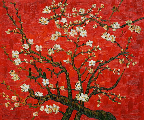 art, tree, and cherry blossoms image