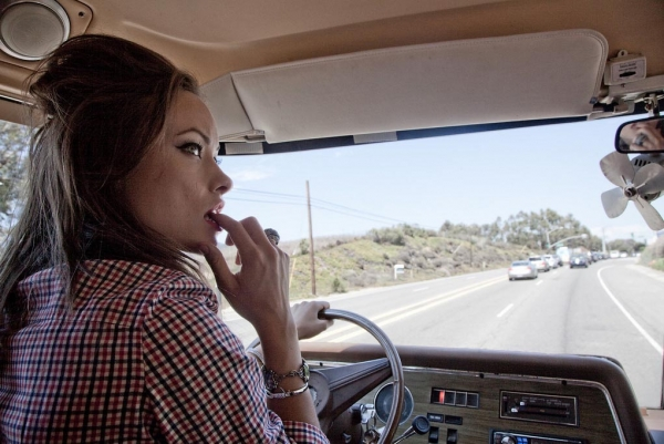 driving, nervous, and Olivia Wilde image