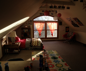 attic, bedroom, and cute image