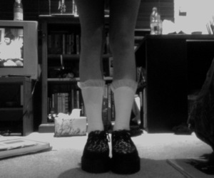 black and white, creepers, and lace image